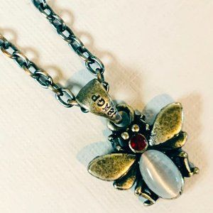 Bumble bee with crystals antique silver necklace